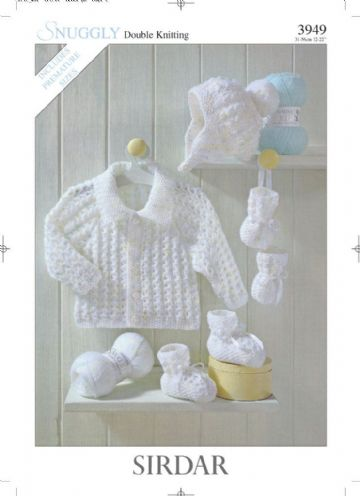Sirdar Snuggly DK Jacket, Hat, Bootees & Mittens Knitting Pattern, 3949